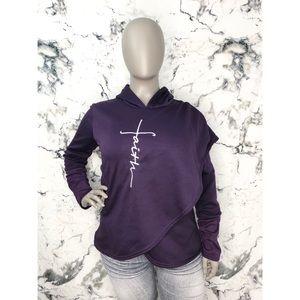 Faith Wrap Style Hoodie Sweater Purple